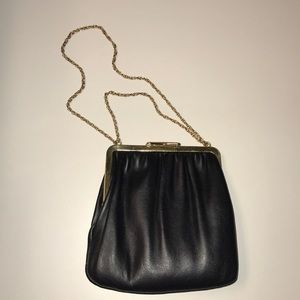 Handbags - Small Black Purse with Gold Chain